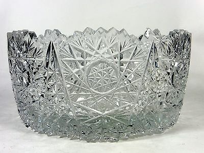 Vintage Cut Crystal Bowl Daisies and Stars Glass Bowl
