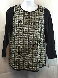 Charter Club Plus Size Tweed Pullover Sweater Black Combo 1x Ebay