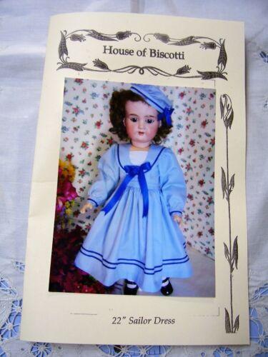 """22/"""" Sailor Dress PATTERN Antique Doll   Kestner German"""