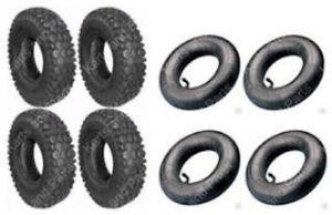 (4) 4.10 x 3.50 - 4 Tires & (4) Tubes Go-Kart Cart GoKart GoCart Mini-Bike