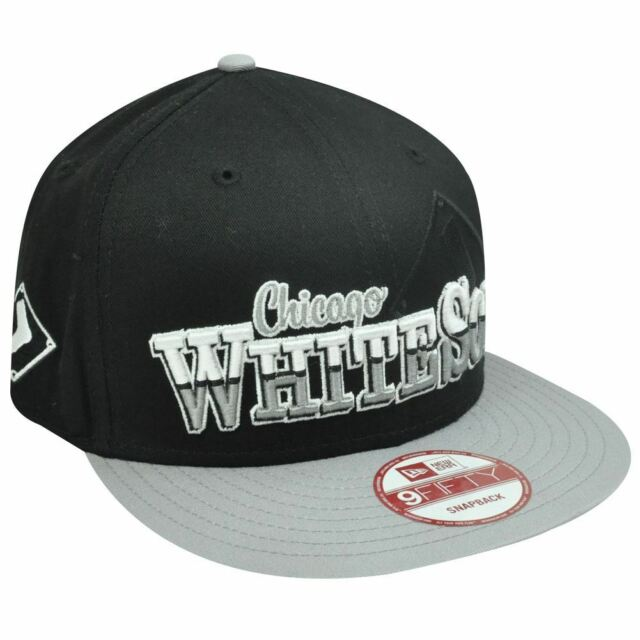8e0dc1af932 MLB HAT CAP NEW ERA NINE 9 FIFTY CHICAGO WHITE SOX FLAT BILL SNAPBACK BLACK  GRAY