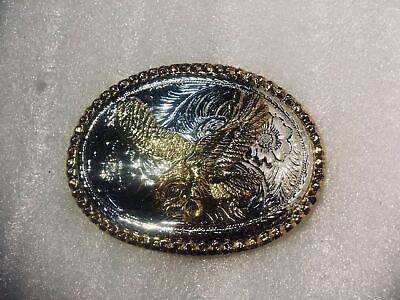 Amichevole Western Golden Aquila Cintura Fibbia In Metallo Stile Biker Cowboy Americano Paese Indiano-mostra Il Titolo Originale