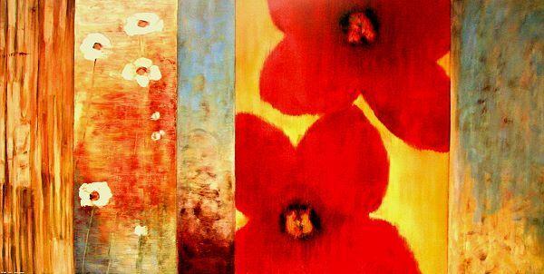 Francis  Vibe I nature morte fleurs terminé-image 50x100