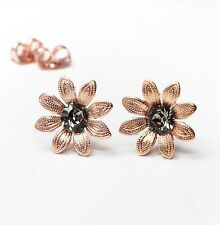 Neu BLÜTEN OHRSTECKER rosegold 5mm SWAROVSKI STEINE black diamond/grau OHRRINGE