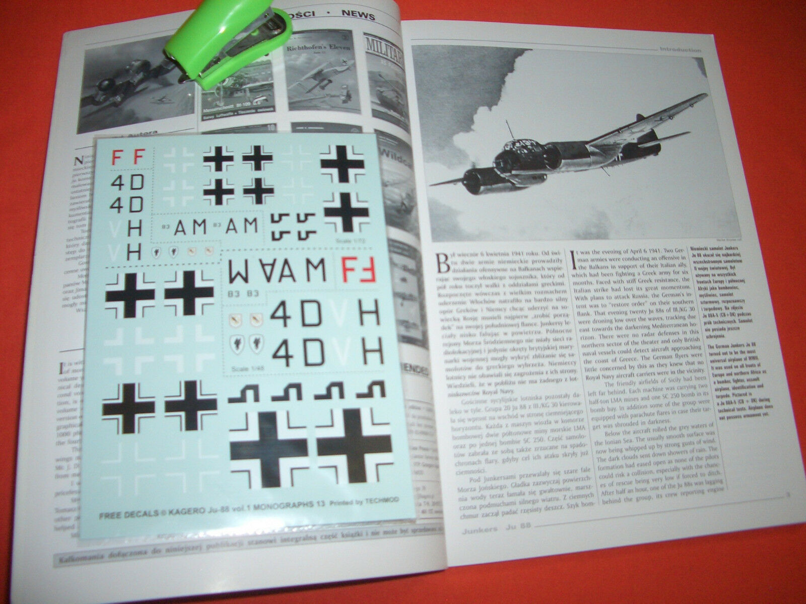 Kagero Monographs 13, Junkers Ju 88 Vol.I & Free Decals