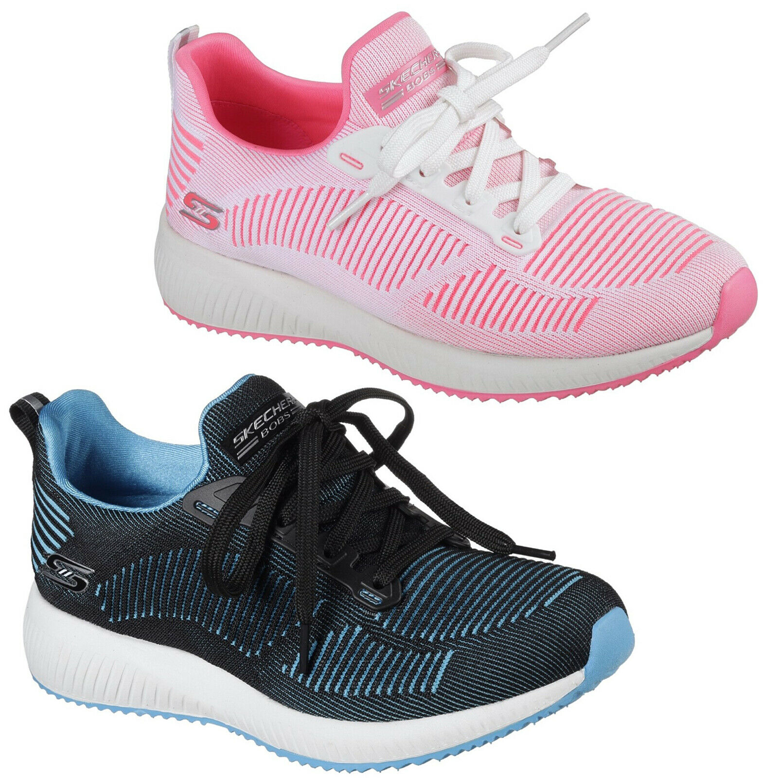 Skechers Bobs Sport Squad Twinning Trainers Memory Foam Knit Fashion Womens shoes