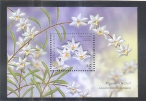 SINGAPORE-2009-PIGEON-ORCHID-STAMP-COLLECTOR-039-S-SHEET-EMBROIDERY-WITHOUT-FOLDER