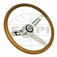 Vw Bug Ghia Empi Classic Wood Steering Wheel ,380mm W/23mm Grip 3 Dish With Hub