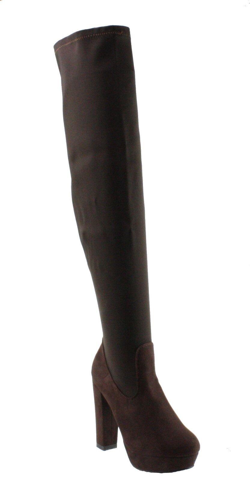 Refresh Rihana-01 Strechy Shaft Platform Block High Heel Over the Knee Boots