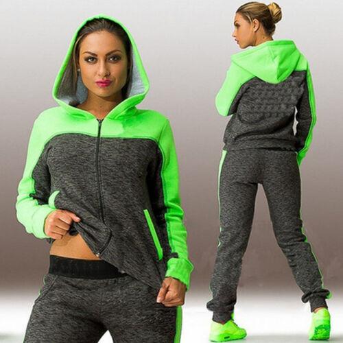 Women/'s Tracksuit Hoodie Sweatshirt Tops Pants Set Casual Sports Sweat Suit