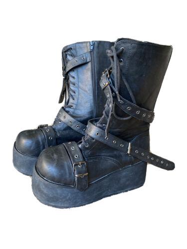 DEMONIA Black Mens Goth Punk Platform Calf Strap B