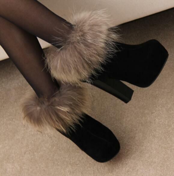 Womens Suede Fur Snow Riding Boots Chunky Chunky Chunky High Heels Zip shoes A473 b6c105