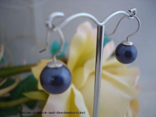 Ohrringe Royal-Blau aus MuschelkernPerlen 10mm und 925er Silber Geschenk