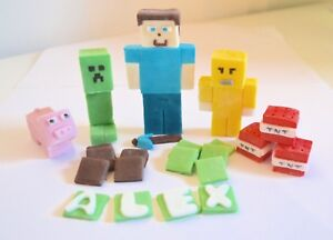 Minecraft Cake Toppers Edible Birthday Personalised Name Icing
