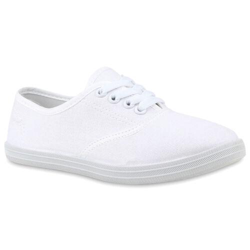Sportliche Damen Herren Sneakers Basic Freizeit Schuhe Schnürer 890879 Top