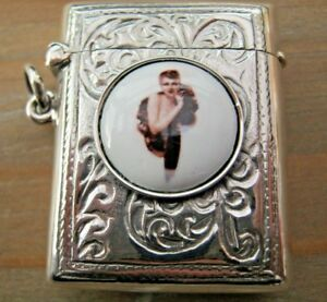 Edwardian-Style-Hallmarked-Sterling-Silver-amp-Enamel-Erotic-Vesta-Case-Match-Safe