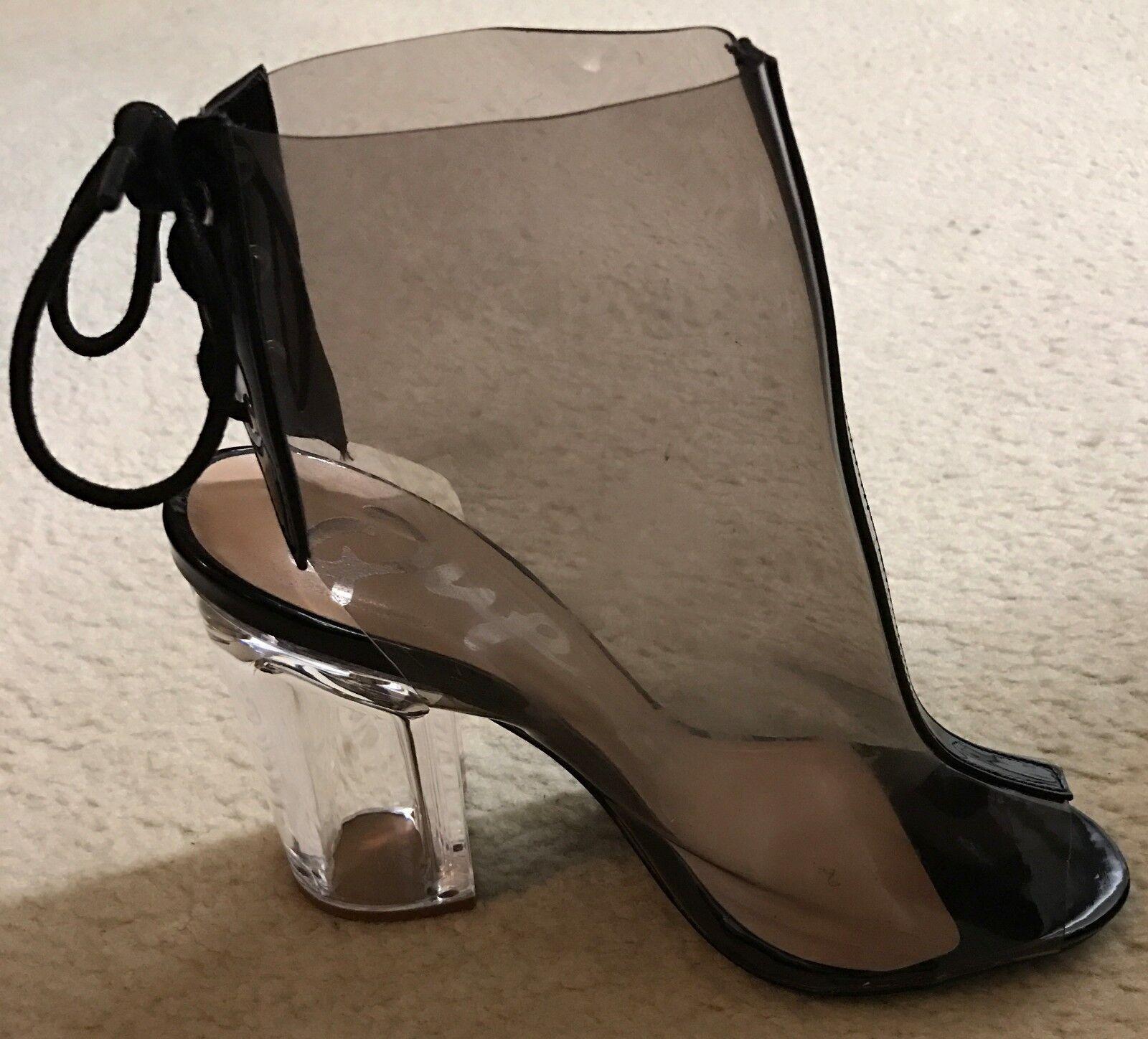 Womens heels size 7.5 Qupid grey clear 4 inch heel