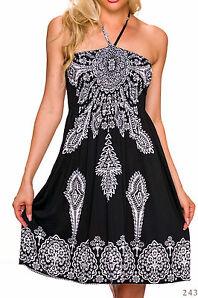 Strandkleid Bandeau Kleid knielang 34  36 38 schwarz weiss Neckholder Neckkleid