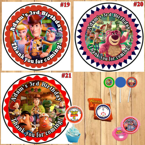 Disney CARS 3 or Toy Story 4 Birthday Stickers Labels Round 1 Sheet Personalized