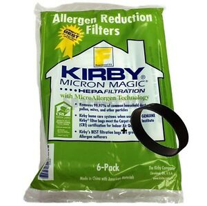 6 BELTS to fit Kirby /& 6 F STYLE Cloth OEM SEALED Bags White Sentria Vacuum