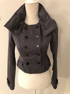 c1218b3a82a Details about Burberry London Cropped Peplum Rain Jacket, Double Breasted