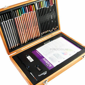 Derwent-Academy-Artists-Watercolour-Pencil-Drawing-Wooden-Storage-Box-Set-Case