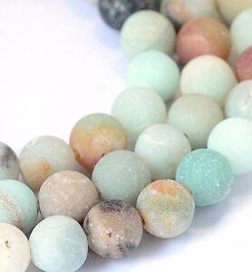 Amazonite-Perlen-8mm-Frosted-A-GRADE-Rund-Strang-Edelstein-Natursteine-BEST-G63