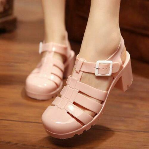 Rome Womens Jelly Plastic Sandals close toes Block Low Heels Transparent shoes