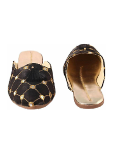 Handmade Rajasthani Indian Women/'s Black Shoes Latest Designs Jutti Mojari
