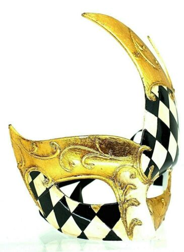 Harlequin Checkered Traditional Venetian Masquerade Eye Mask Adult Mens Eyemask