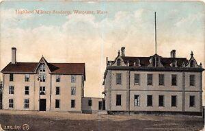 Worcester-Massachusetts-Highland-Militaire-Academie-un-Lundborg-Postale-c1908