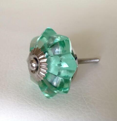 Mint Green Glass Flower Cabinet Knobs Drawer Pulls Decorative Hardware