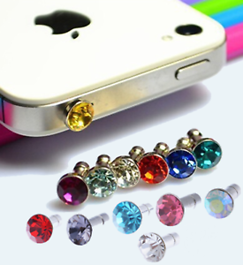 13-EARPHONE-JACK-BLING-DIAMOND-RHINESTONE-CRYSTALS-3-5mm-Anti-Dust-Plug-Cap