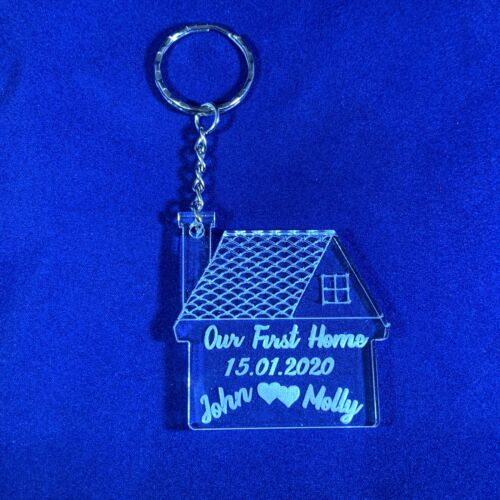 House  Acrylic Keyrings Gift 2 x Personalised House Shape First New Home