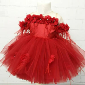 Toddler-Kids-Baby-Girls-Flower-Tulle-Party-Princess-Pageant-Wedding-Tutu-Dress