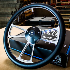 14-034-Billet-Muscle-Steering-Wheel-with-Black-Vinyl-Wrap-and-Chevy-Horn-5-Hole