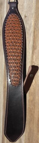 Leather Hand Tooled Rifle Sling Diamond Weave Pattern choice of 3 Colors