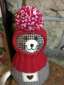 Hand Knitted Red Sparkle Balaclava Hat With large Pompom ...