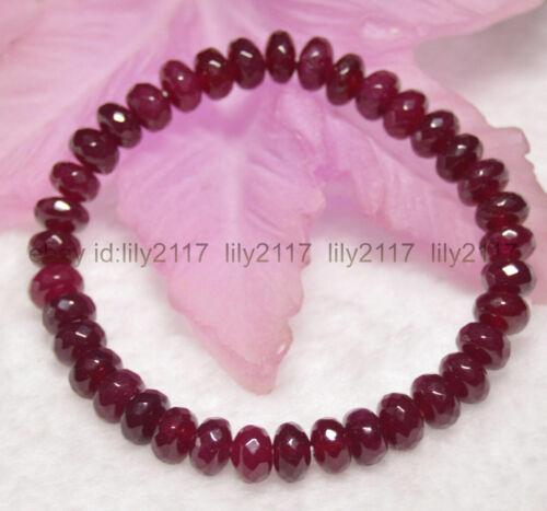 Long 8.5 in 5x8mm à Facettes Rouge Foncé Grenat Gemme Blotter perles bracelets environ 21.59 cm