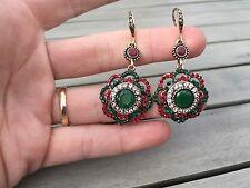 Turkish Red gold Drop Dangle Hook Earrings Enamel Green Flower Topaz indian