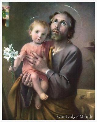 "13 1/2"" x 17 1/2"" Catholic Picture Poster ST. JOSEPH & CHRIST CHILD by Simeone"