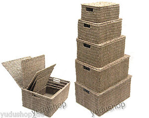 panier tag re caisse corbeille de rangement avec couvercle seegrass ebay. Black Bedroom Furniture Sets. Home Design Ideas