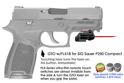 ArmaLaser GTO for SIG Sauer P250c Red Laser Sight w// FLX18 Grip Touch Activation