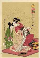 UW»Estampe japonaise Utamaro courtisane 58 G80