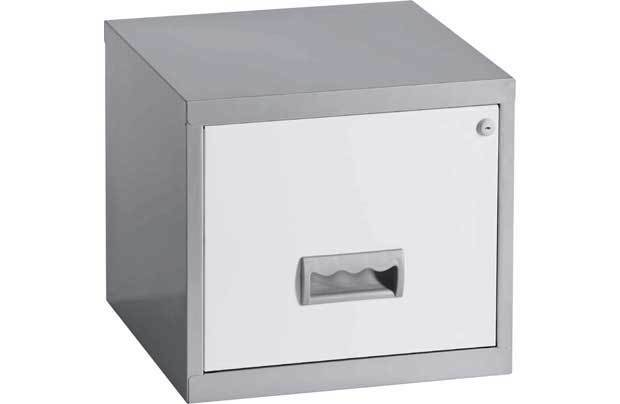 458b1ef979c 1 DRAWER  PIERRE HENRY  STEEL SILVER WHITE FILING CABINET A4   NEW +FREE