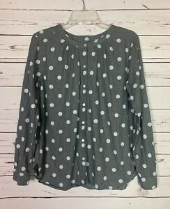 LOFT-Women-039-s-S-Small-Gray-White-Polka-Dot-Button-Long-Sleeve-Blouse-Top-Shirt