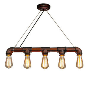 retro industrial vintage water pipe ceiling light fixture chandelier pendant new ebay. Black Bedroom Furniture Sets. Home Design Ideas