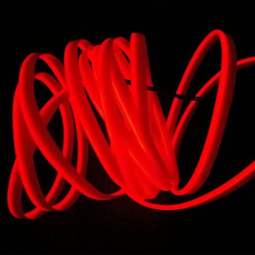3M RED  EL Wire Car Interior Decor Fluorescent Neon Cold Strip light Fit Honda