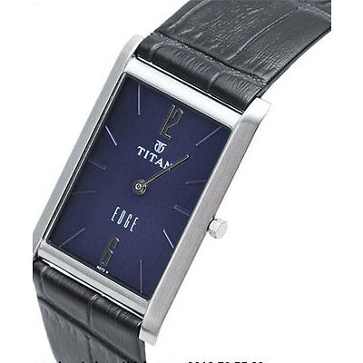 TITAN EDGE 1043SL11 MENS FORMAL TRENDY LEATHER BELT BLUE DIAL WATCH BEST GIFT
