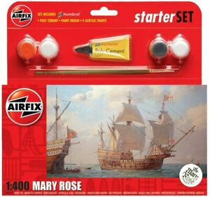 El conjunto de arranque de Mary Rose Airfix Royal Navy Model Kit pinturas & Cepillo Conjunto A55114